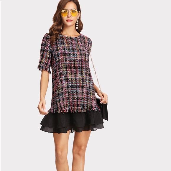 d9348de3ec SHEIN Dresses | Ruffled Layered Hem Fringe Tweed Dress | Poshmark